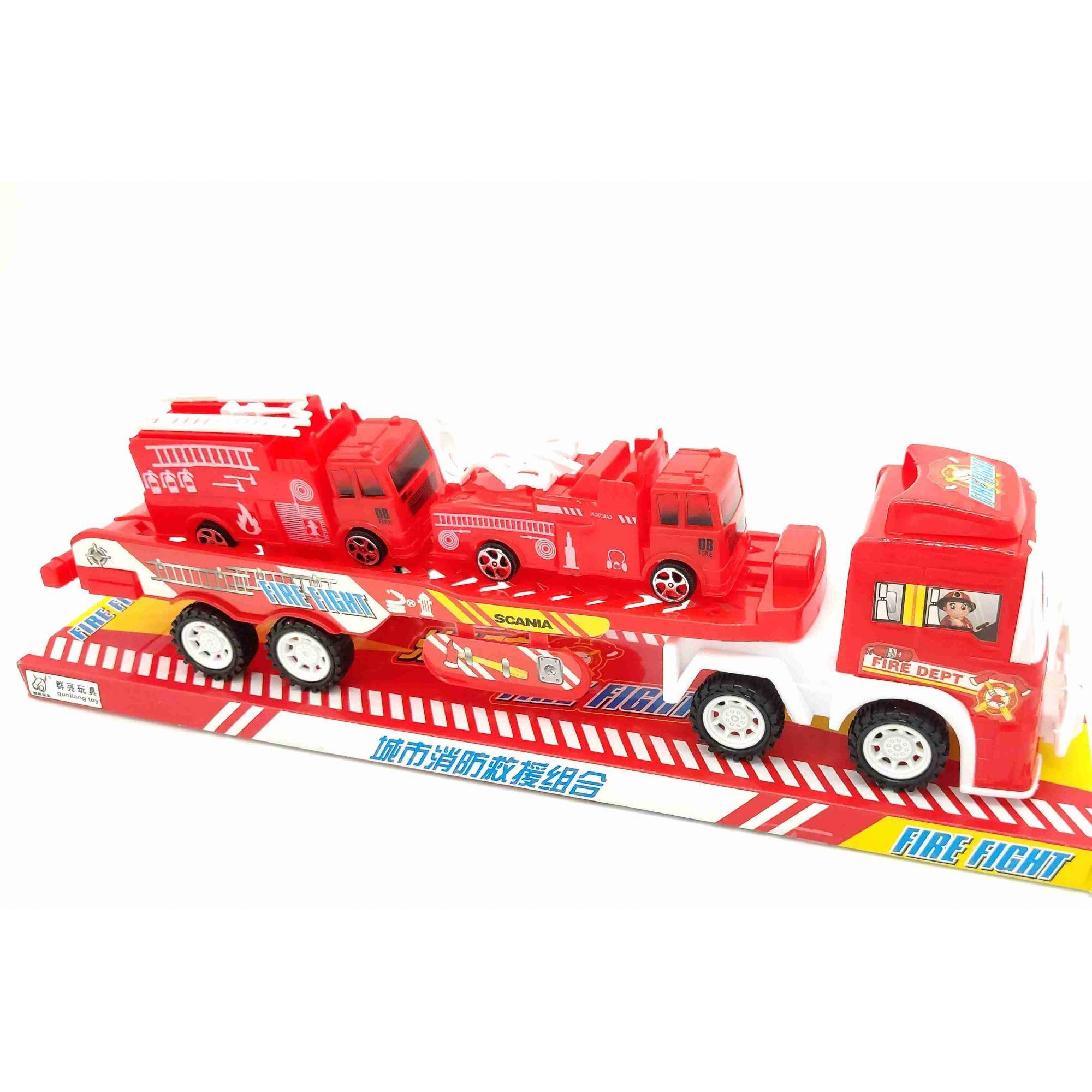 Carreta Plataforma Bombeiros com 2 Caminhões