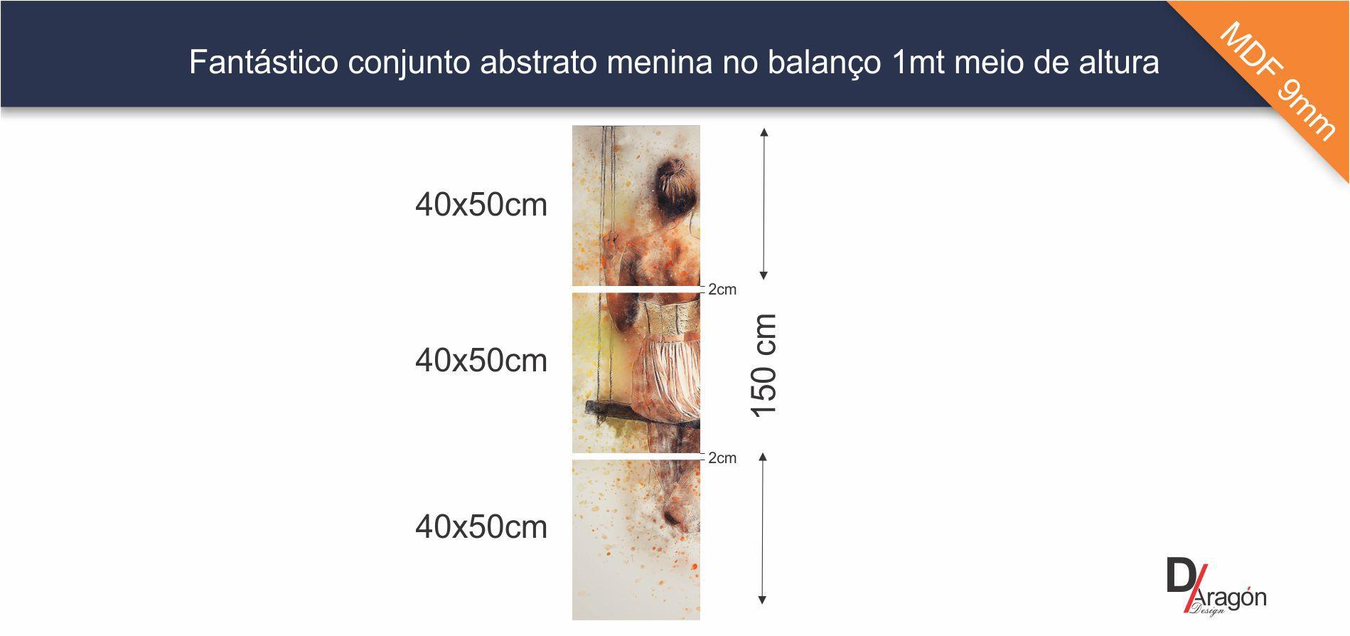 Conjunto 3 Quadros Abstrato Menina no Balanço 50x150cm