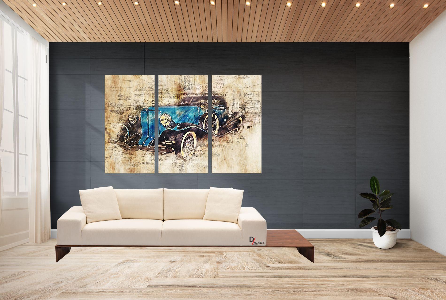 Conjunto 3 Quadros Aurburn 1932 60x90cm