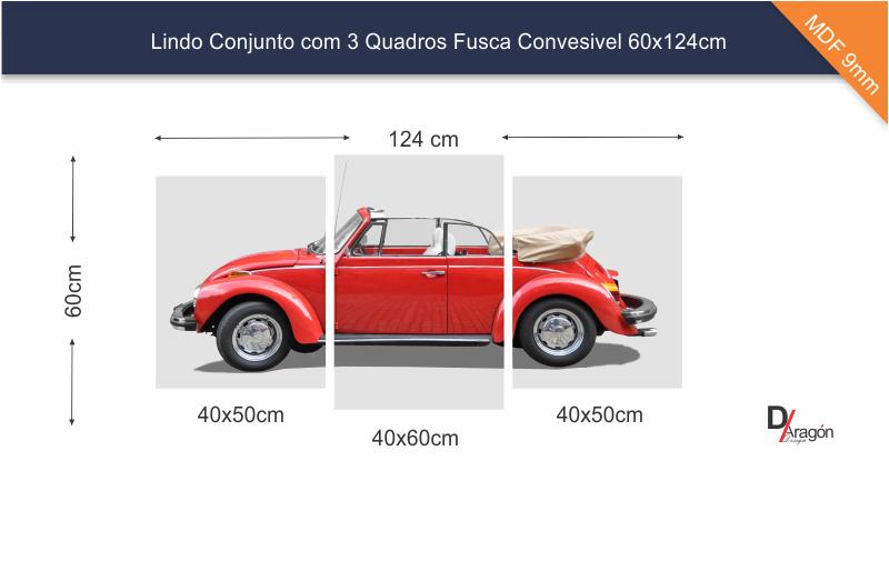 Conjunto 3 Quadros Fusca Vermelho Conversível 60x124cm