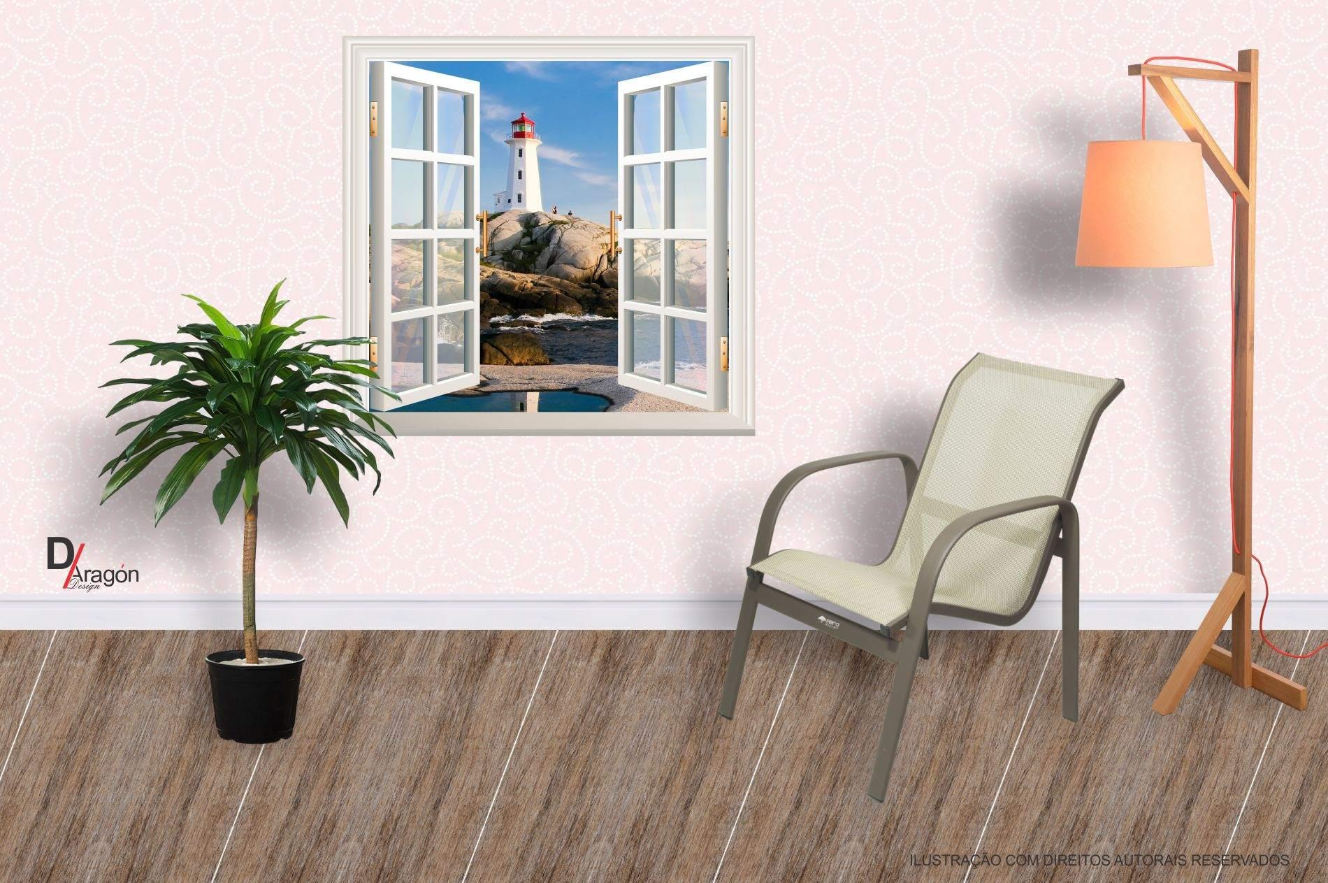 Adesivo de Parede Decorativo Janela 3D Vista do Farol