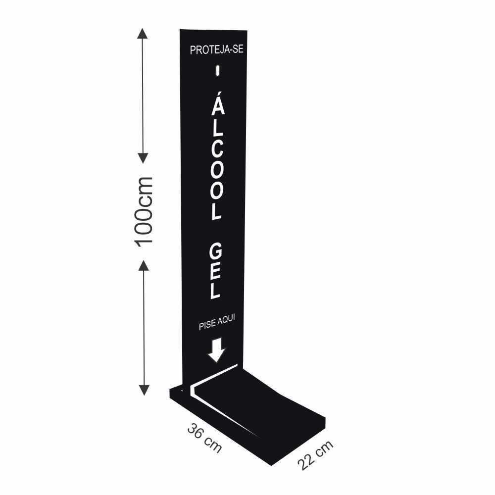 Dispenser de Álcool Gel em Ferro e ACM Com Pedal
