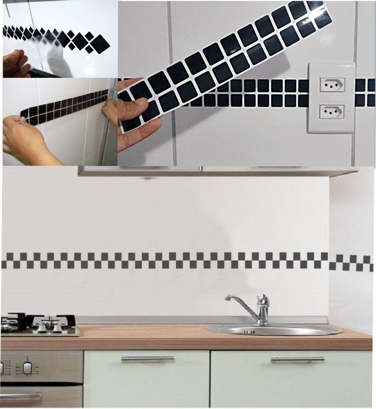 Faixa Adesiva Decorativa Cozinha e Banheiro 40un
