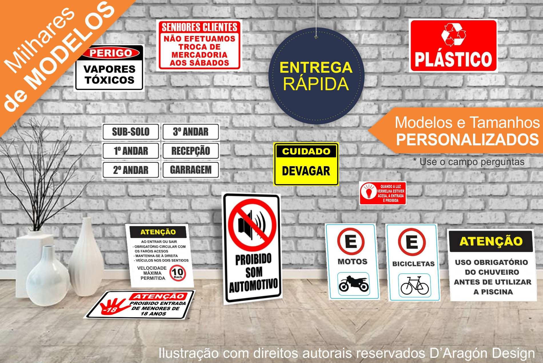 Kit 3 Placa PVC Personalizada Texto Telefone Logo