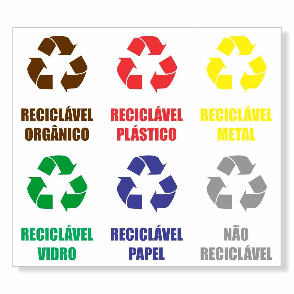 Kit 5 Adesivo Identificação Lixo Reciclável Papel Metal