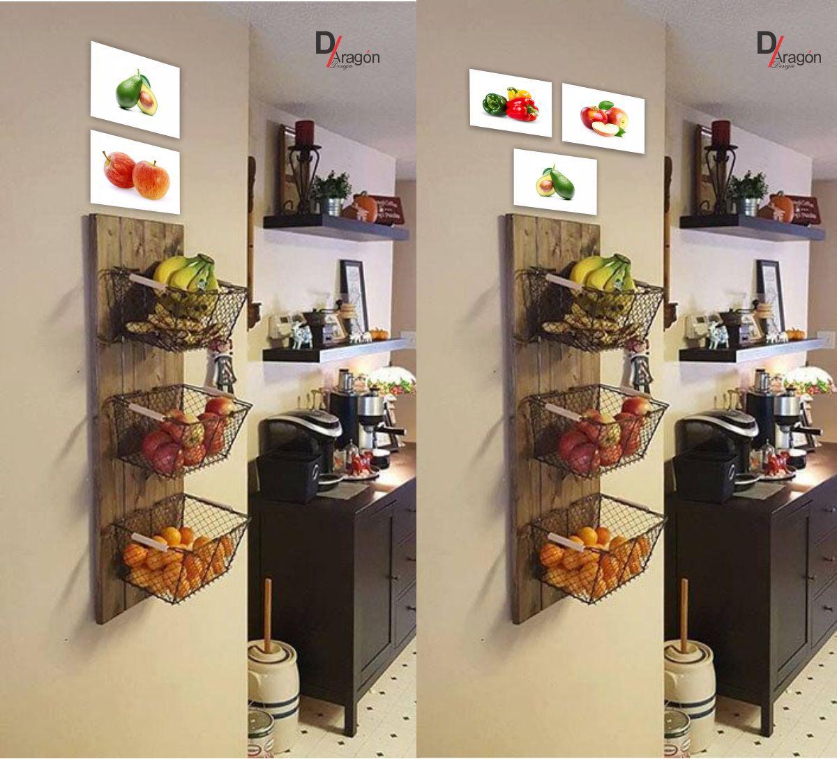 Kit Com 5 Placas Decorativas em MDF Decoração Fruteira