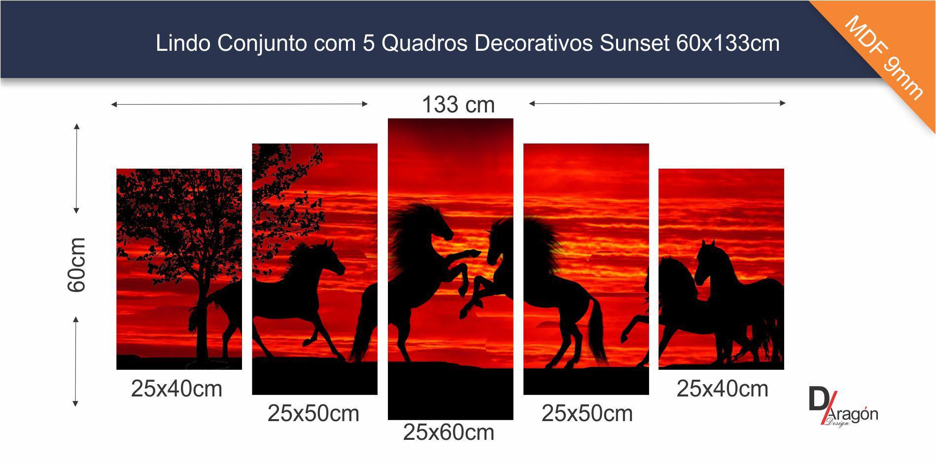 Linda Composição de 5 Quadros Horses at Sunset 60x133cm