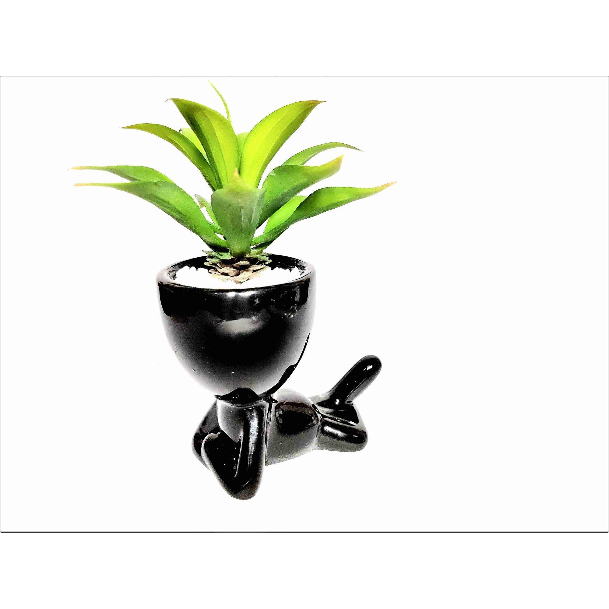 Mini Arranjo Suculenta Flor Artificial Vaso Cerâmica Preto