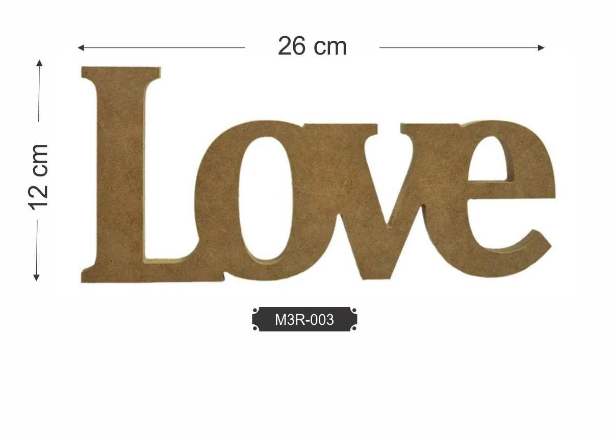 Palavra Love em Aplique de MDF