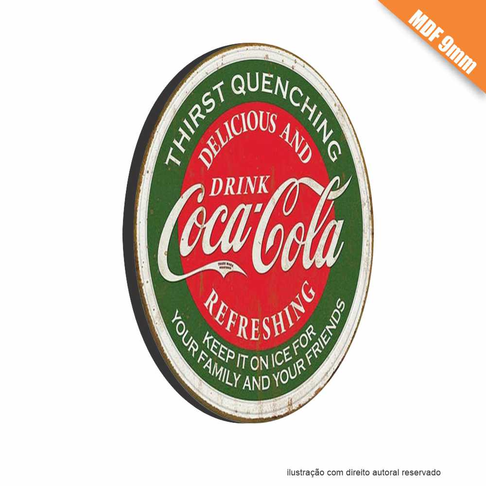 Placa Coca-Cola Vintage em MDF 9mm