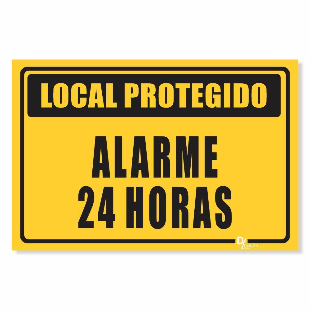 Placa de Sinalização Alarme 24 Horas