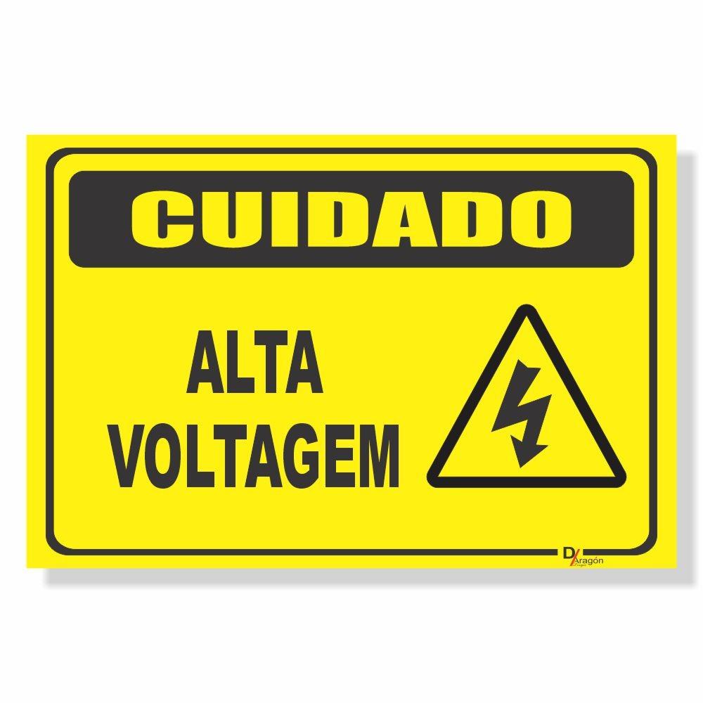 Placa de Sinalização Cuidado Alta Voltagem