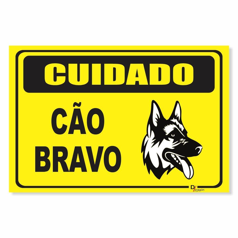 Placa de Sinalização Cuidado Cão Bravo