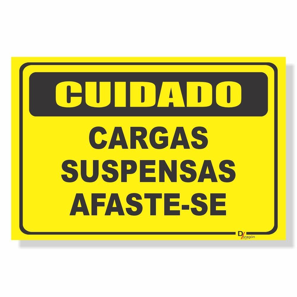 Placa de Sinalização Cuidado Cargas Suspensas