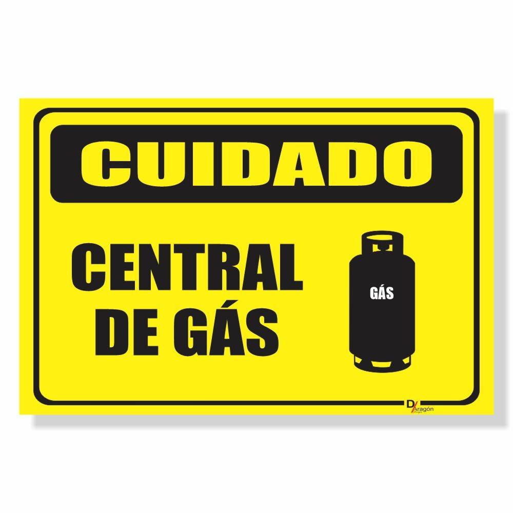 Placa de Sinalização Cuidado Central de Gás
