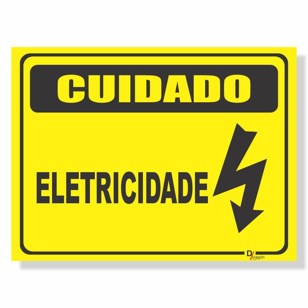 Placa de Sinalização Cuidado Eletricidade