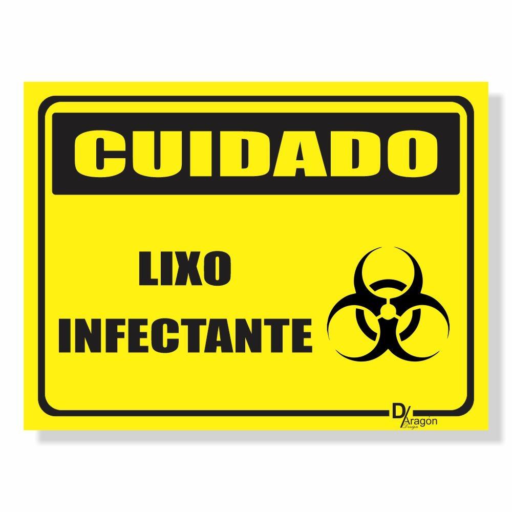Placa de Sinalização Cuidado Lixo Infectante