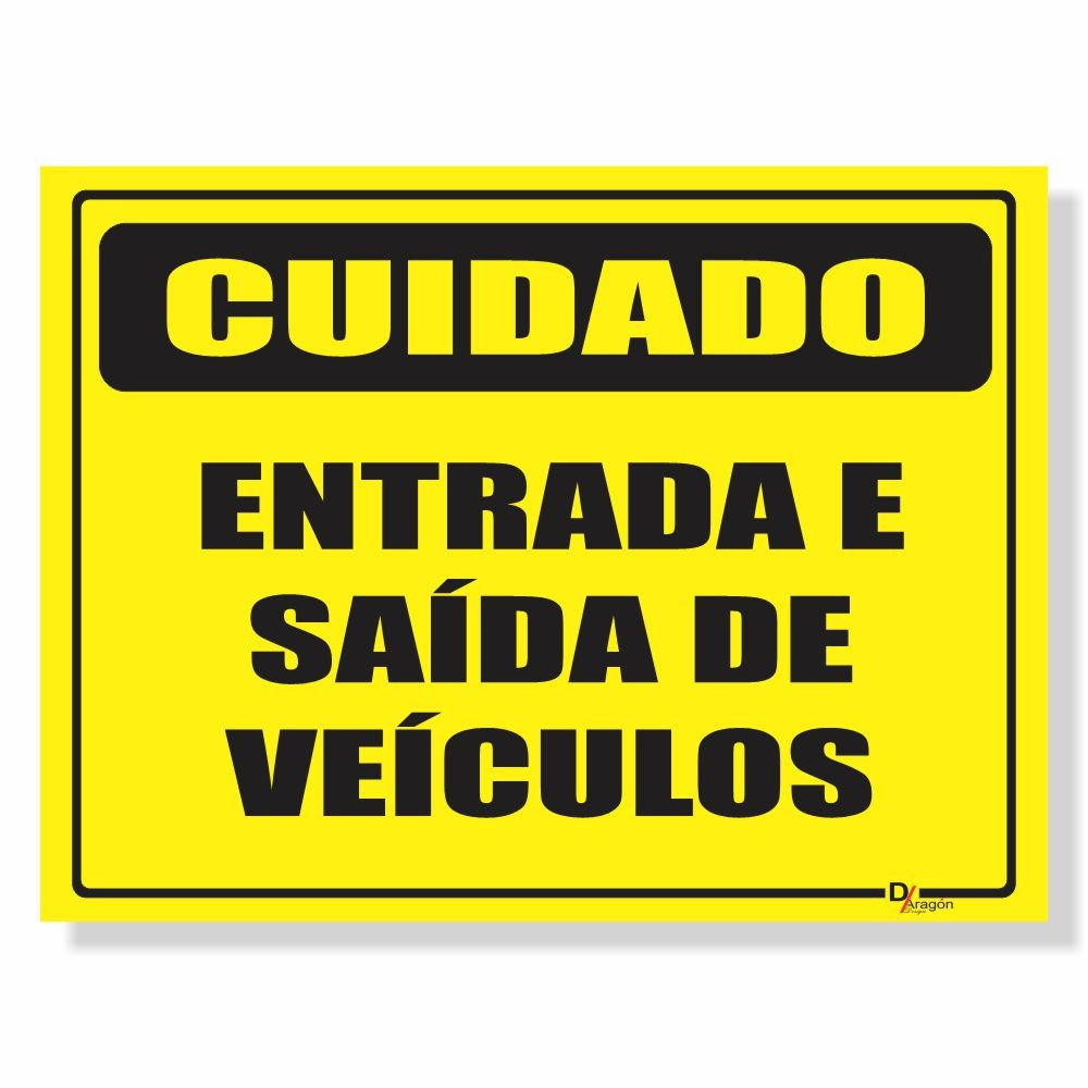 Placa de Sinalização Cuidado Veículos