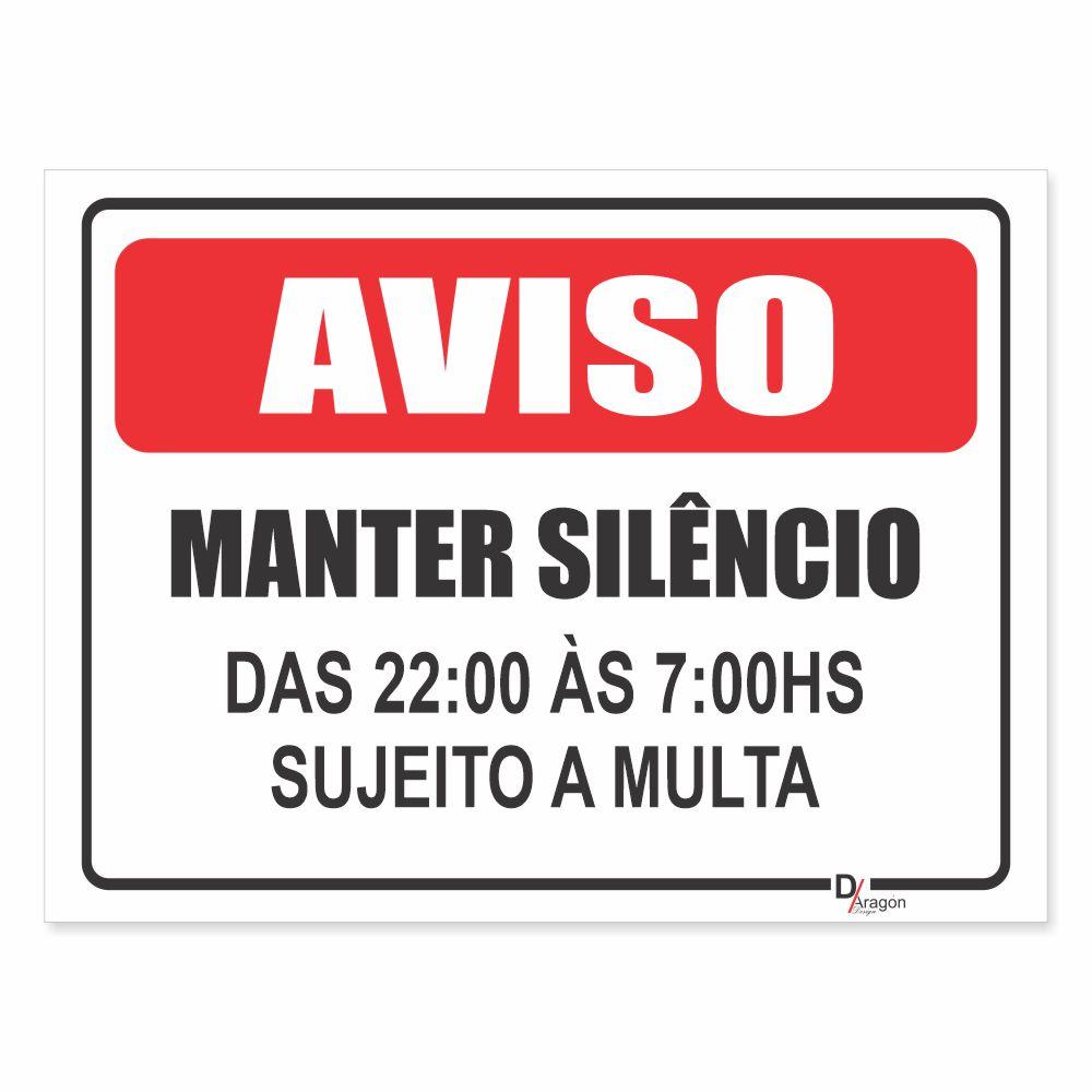 Placa de Sinalização Mantenha Silêncio