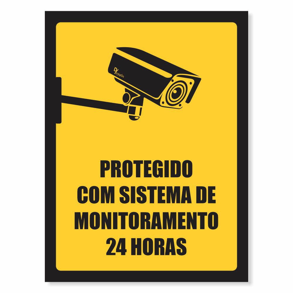 Placa de Sinalização Monitoramento por Câmera de Segurança