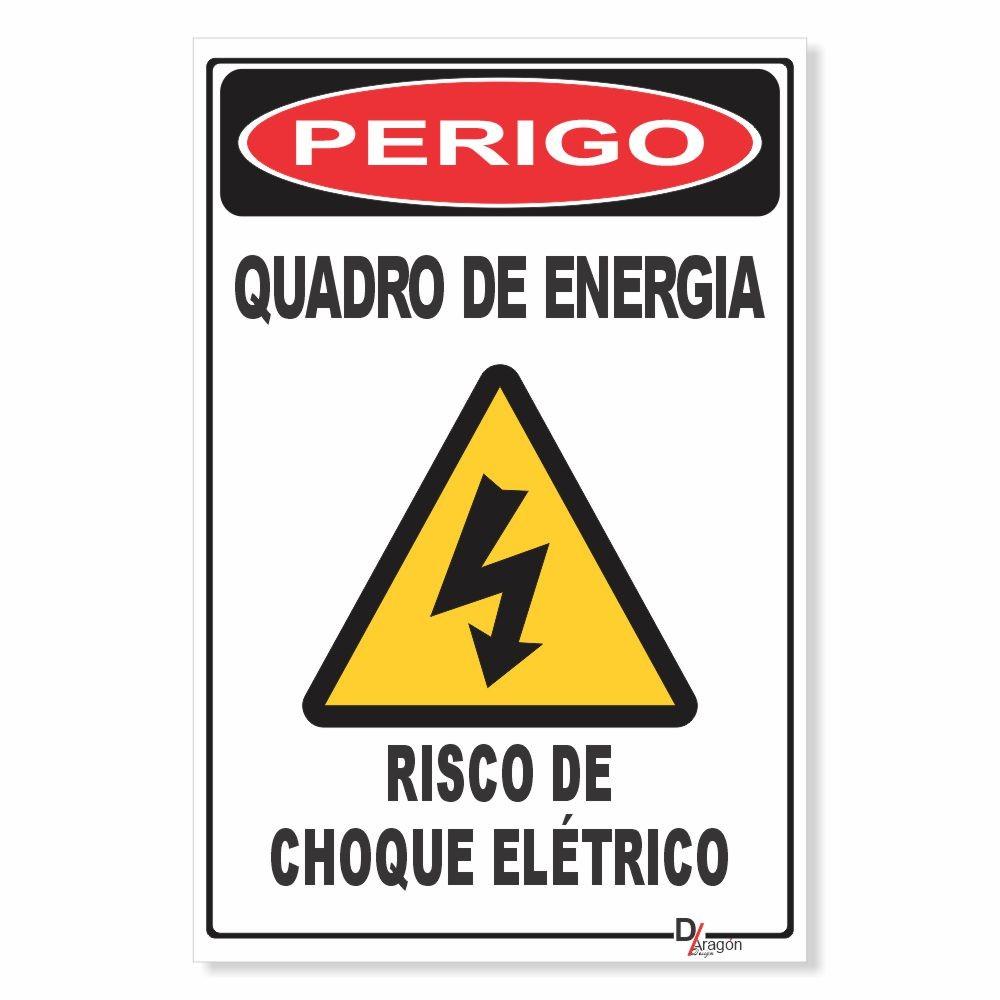 Placa de Sinalização Perigo Choque Elétrico