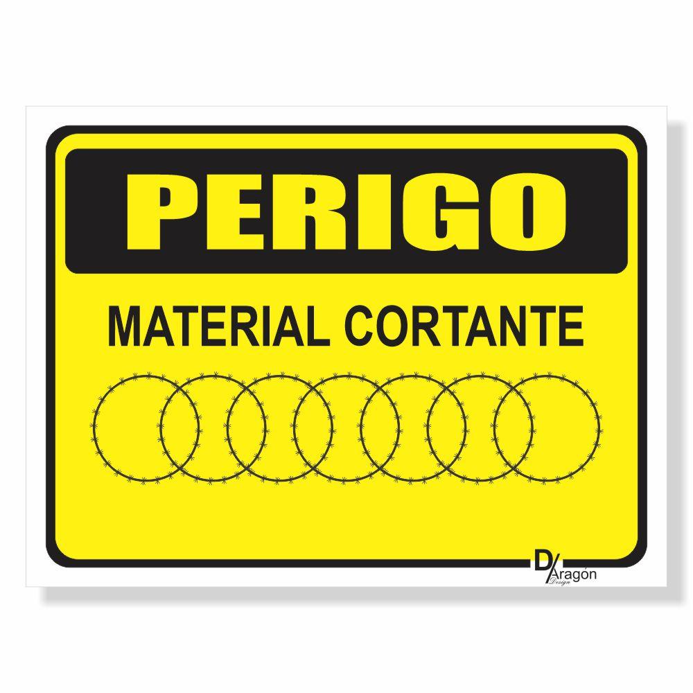 Placa de Sinalização Perigo Material Cortante