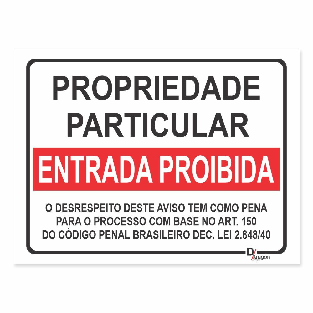 Placa de Sinalização Propriedade Particular