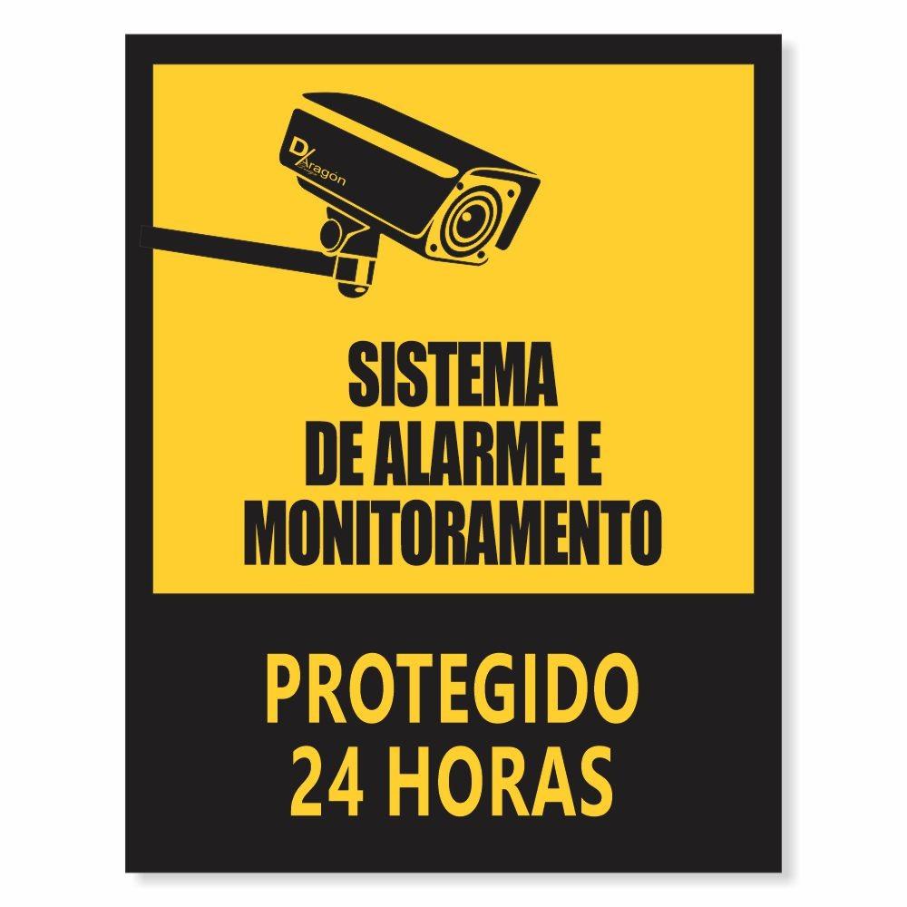 Placa de Sinalização Protegido 24 Horas