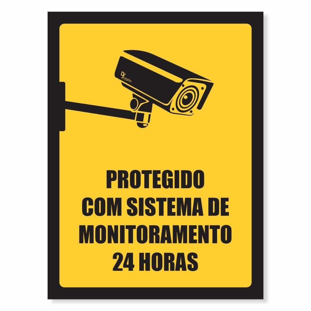 Placa de Sinalização Sistema de Monitoramento 24 Horas