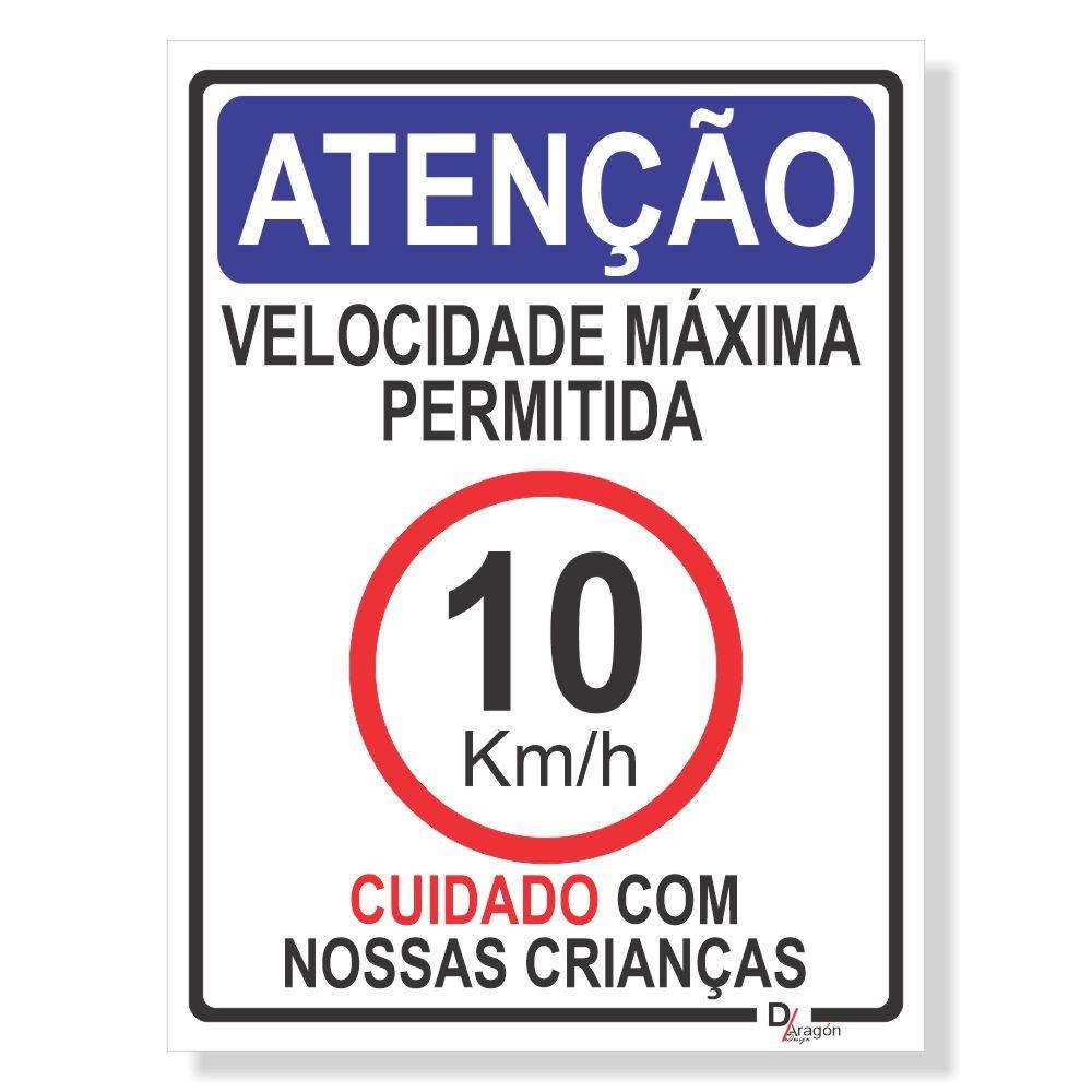 Placa de Sinalização Velocidade máxima 10km