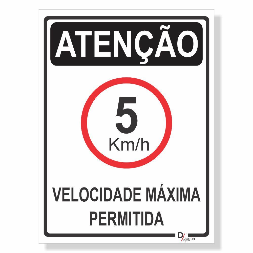 Placa de Sinalização Velocidade máxima 5km 1