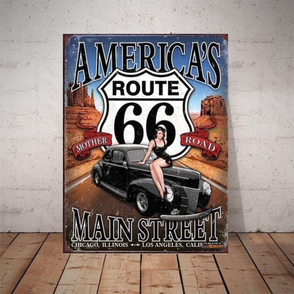 Placa Decorativa America's Route 66
