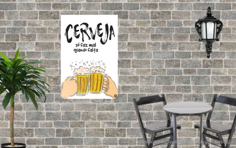 Placa Decorativa Bar Cerveja Só Faz Mal Quando Falta