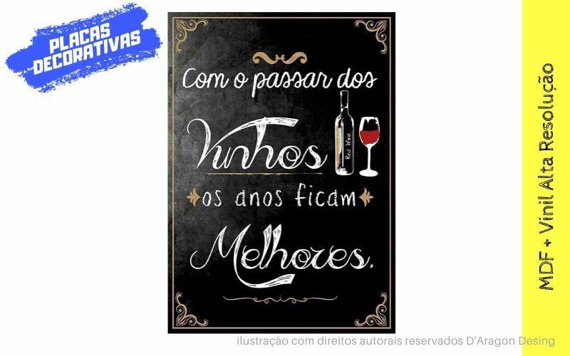 Placa Decorativa Bar Com o Passar dos Vinhos
