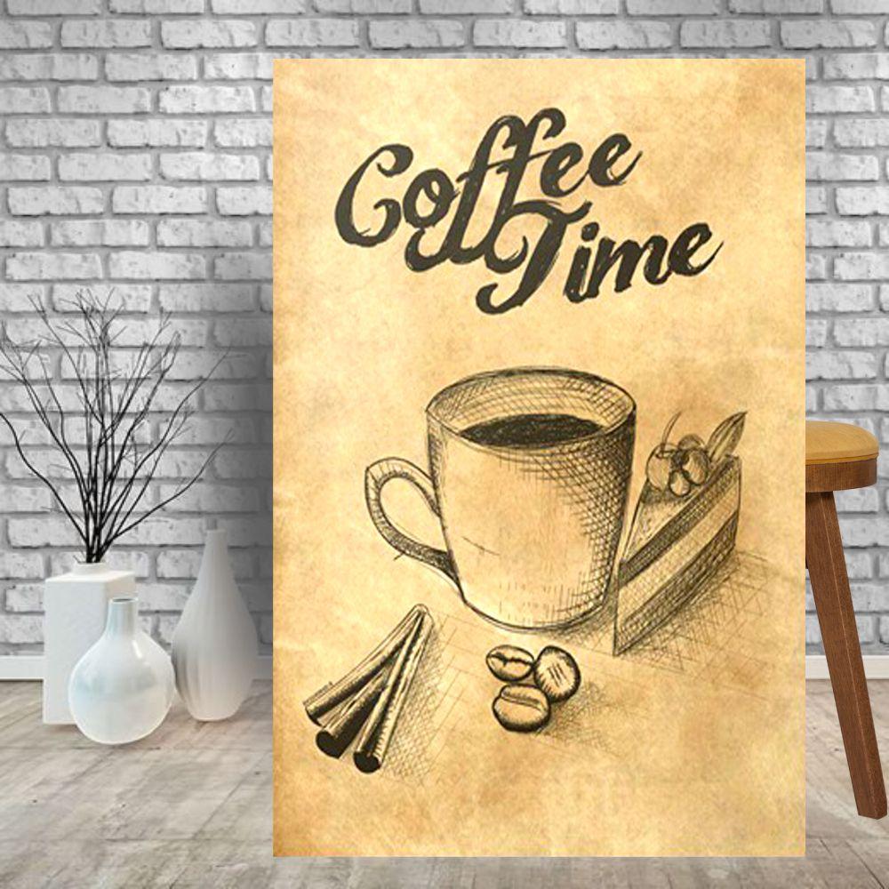 Placa Decorativa Bar Cozinha Café Coffee Time