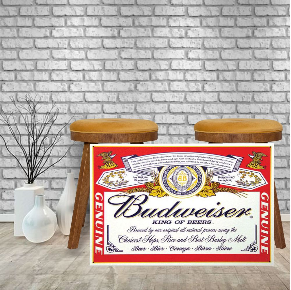 Placa Decorativa Bar Rotulo Budweiser King Of Beer