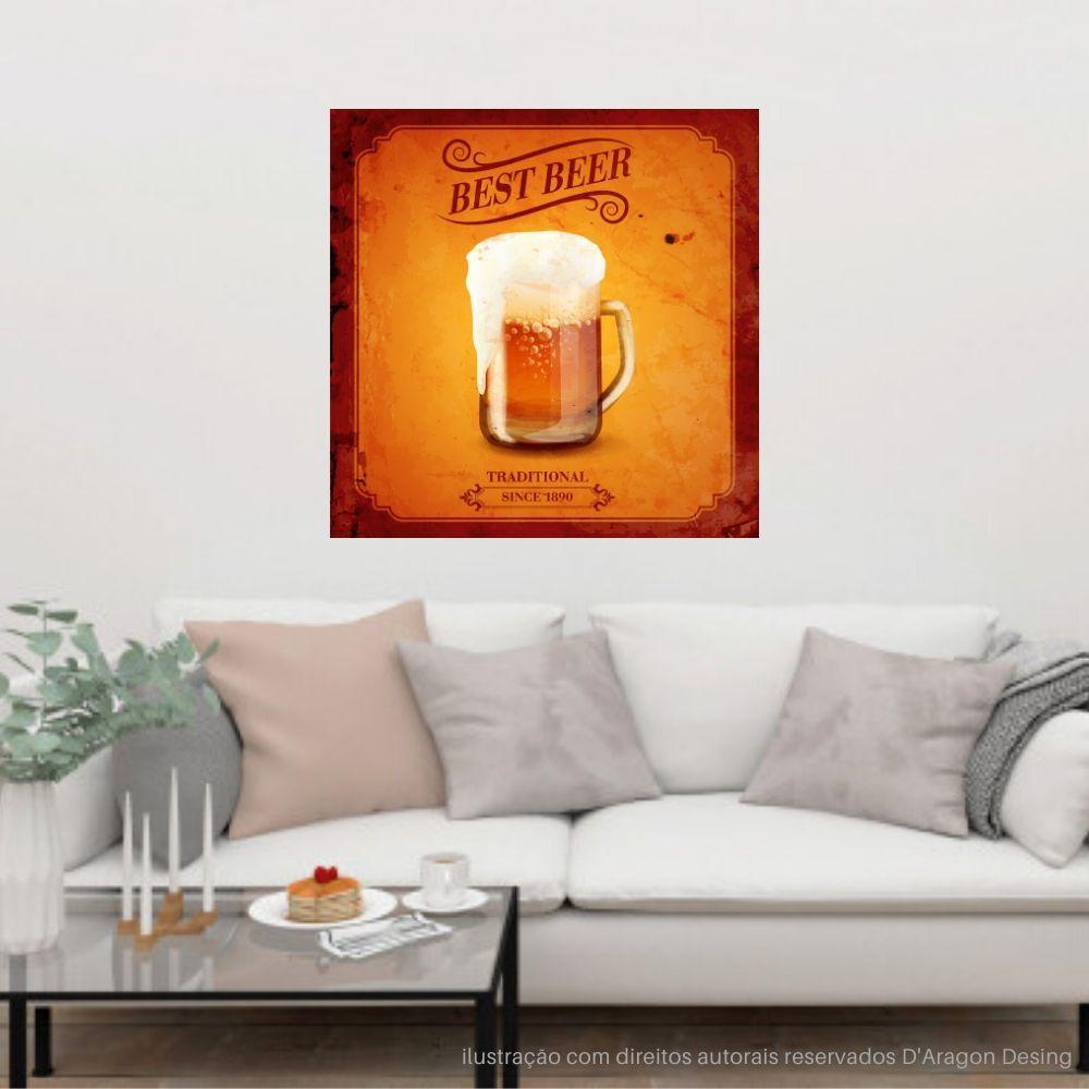Placa Decorativa Best Beer Traditional Cartaz Retro 30x30cm