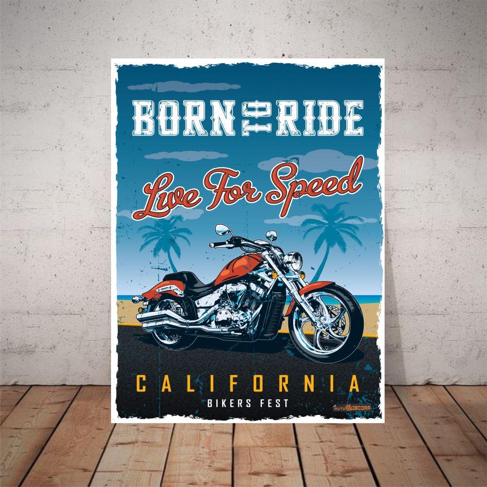 Placa Decorativa Born to Rider