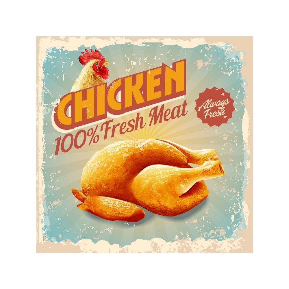 Placa Decorativa Chicken Fresh Meat Cartaz Retro 30x30cm