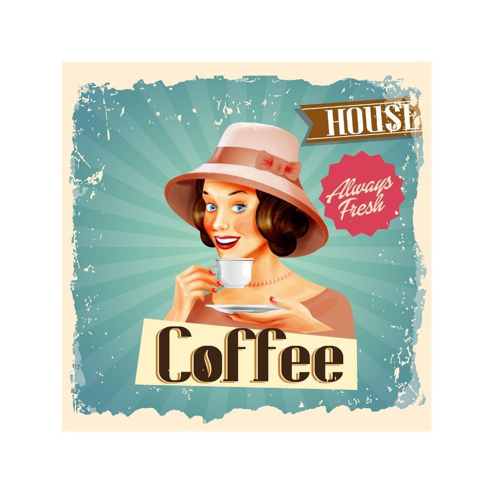 Placa Decorativa Coffee House Cartaz Retro 30x30cm