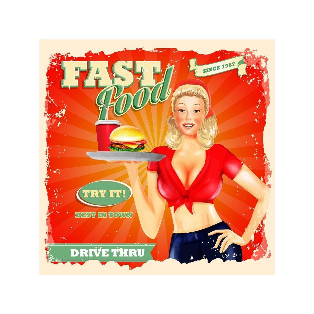 Placa Decorativa Fast Food Cartaz Retro 30x30cm