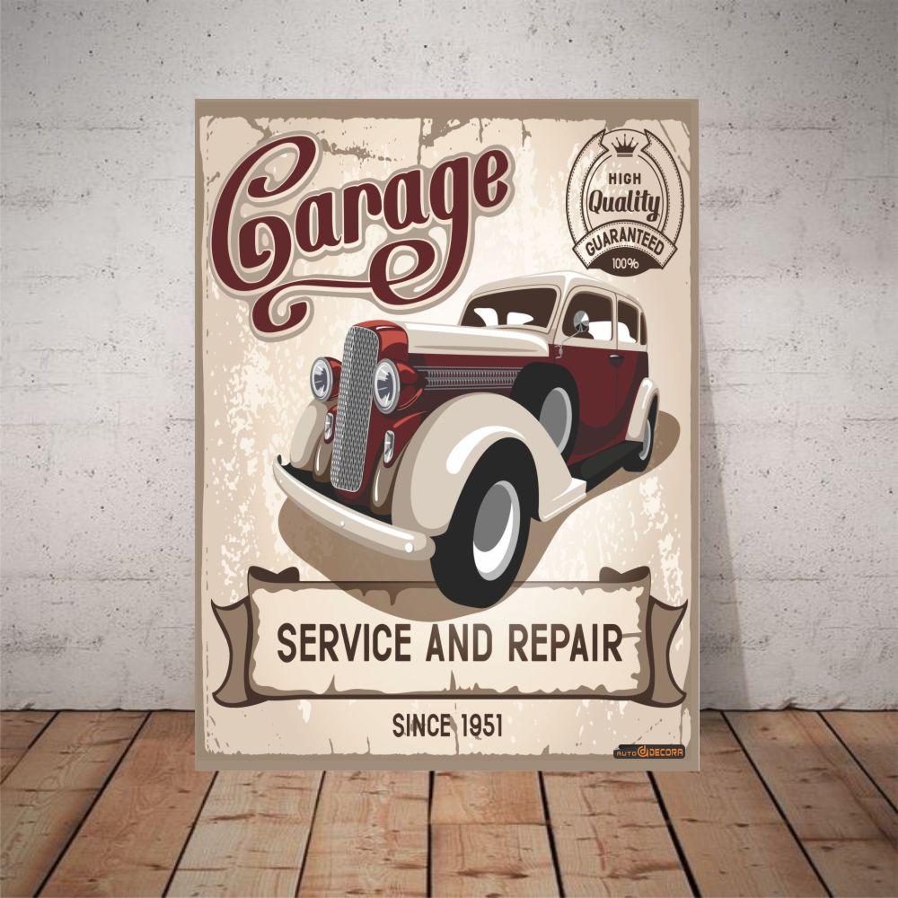 Placa Decorativa Garage Service & Repair