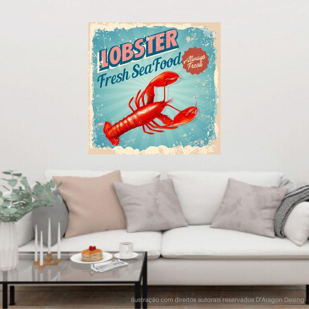 Placa Decorativa Lobster Fresh Seafood Cartaz Retro 30x30cm