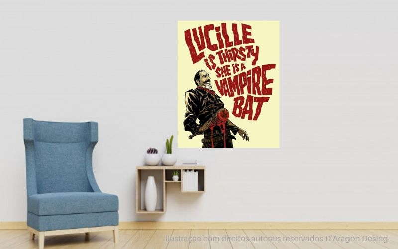 Placa Decorativa Lucille Is Thirsty Vampire Bat