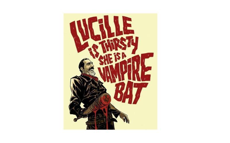 Placa Decorativa Lucille Is Thirsty Vampire Bat