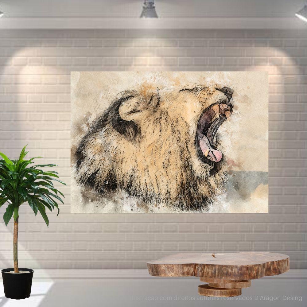 Placa Decorativa MDF Leão Abstrato