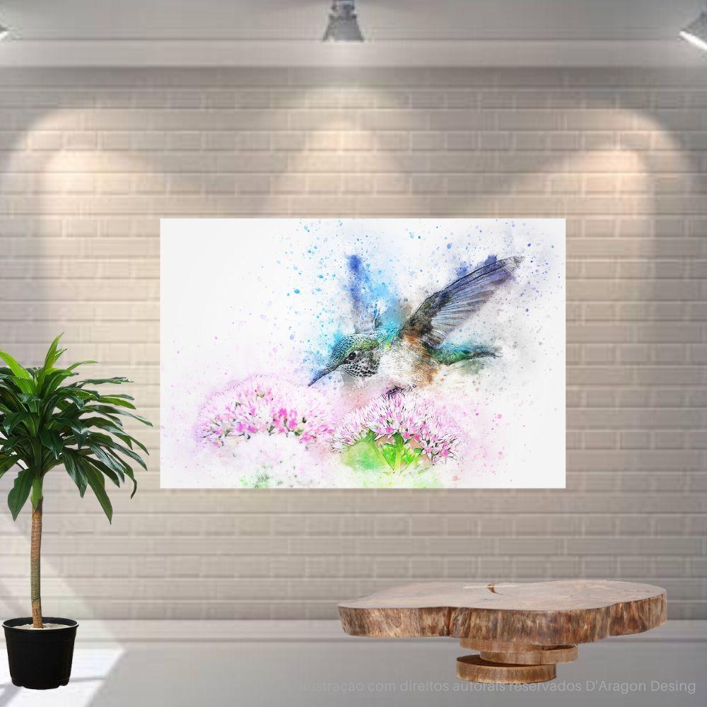 Placa Decorativa MDF Beija Flor Abstrato