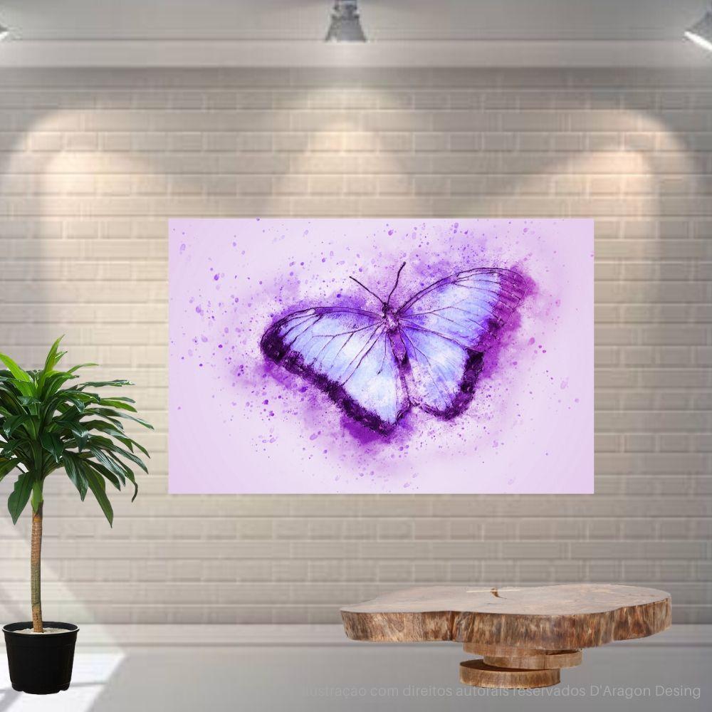 Placa Decorativa MDF Borboleta Lilas Abstrato