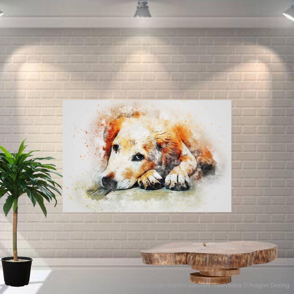 Placa Decorativa MDF Cachorro Abstrato Esperando