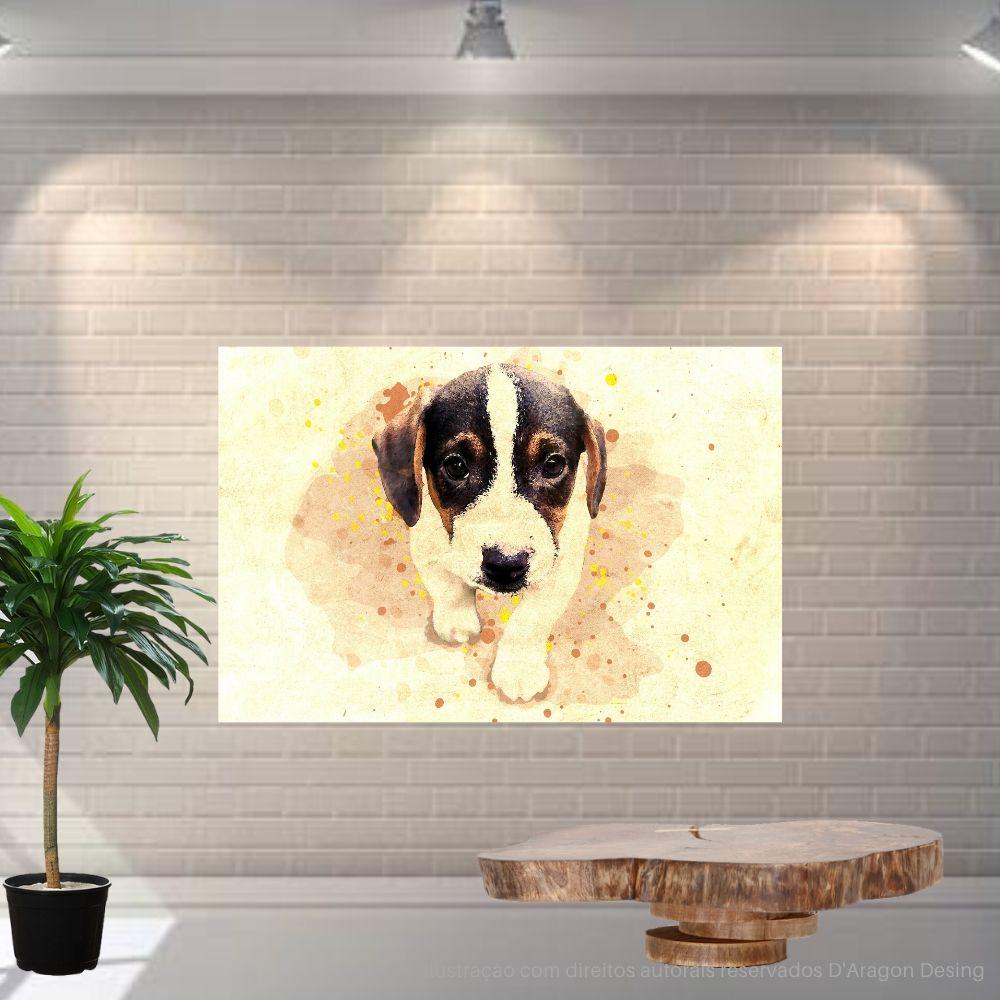 Placa Decorativa MDF Cãozinho Seguindo Abstrato